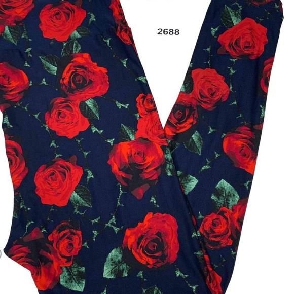 New TC LuLaRoe Red Pink White Roses Leggings Floral Purple Background